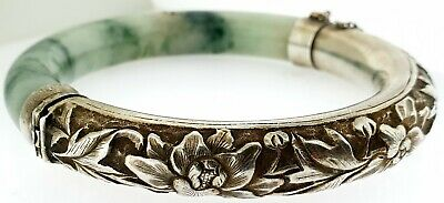 Antique Chinese Export Sterling Silver Repousse Jadeite Jade Bangle Bracelet~WOW