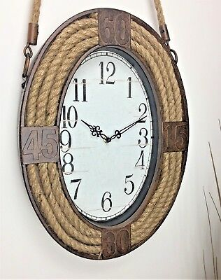 Industrial Vintage Style Metal Wall Clock With Hanging Rope Nautical Decor