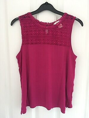 Pink Top Lace Detial H&M Ladies Woman Girl Size S Pink