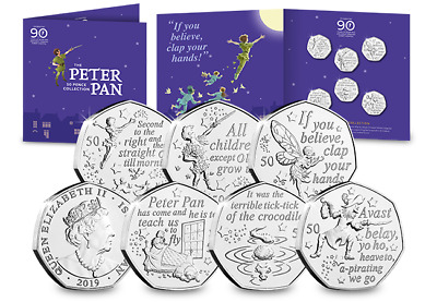 2019 Peter Pan 50p 6 Coin Complete Set 90th Anniversary Package IOM. Brand New.