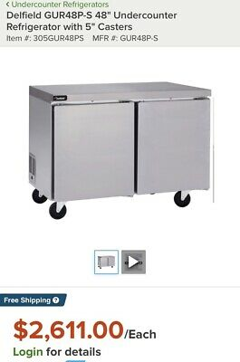 """Delfield GUR48P-S 48"""" Undercounter Refrigerator with 5"""" Casters"""