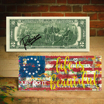 BETSY ROSS FLAG 1776 Signed Rency Art Genuine $2 Bill LTD SN of 1776 JUST DO IT