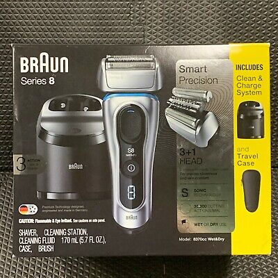 Braun Series 8 Electric Shaver 8370CC with Clean & Charge System And Case