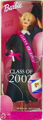 2001 Mattel Barbie Class of 2002 Special Edition Doll Diploma Yearbook Gown Cap