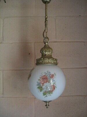 Vintage Art Nouveau Pendant Lamp Milk Glass Decorative Globe Ornate Gallery