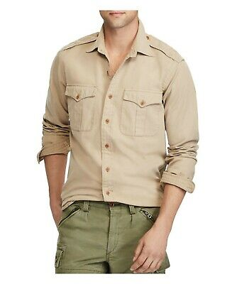 BNWT Mens Ralph Lauren Polo Iconic Chino Military Tan Shirt Size Small RRP £119
