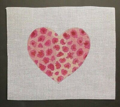 Barbara's Hand-painted Needlepoint Canvas Pink Leopard Print Heart Ornament