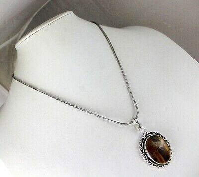 Tiger's Eye Silver Plated Pendant With Chain / Necklace V-6-271018-12