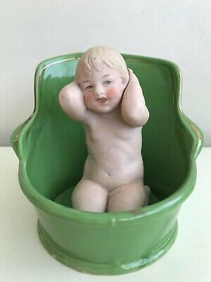 Antique Heubach Gerbruder - Bisque Bathing Piano Baby in tub VERY RARE