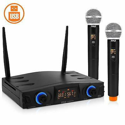 Pyle PDWM2950 Compact UHF Wireless Microphone System, Mic Receiver w/ 2 Mics
