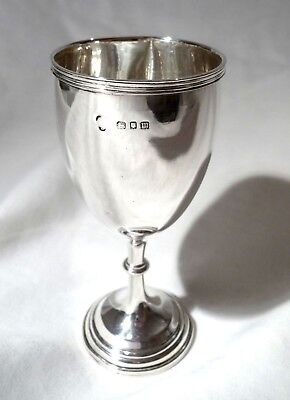 ANTIQUE English SOLID STERLING SILVER FOOTED CUP GOBLET CHALICE 1927