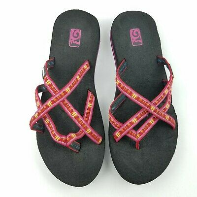 buy online e5ed8 60f64 TEVA MUSH WOMEN'S Pink And Yellow Flip-Flop Sandals Size 10 ...