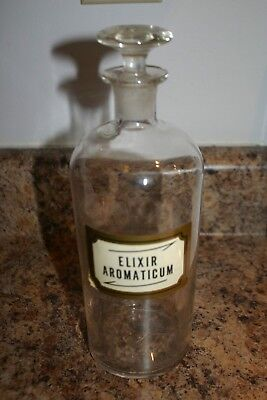 Antique Elixir Aromaticum Apothecary Medicine Bottle Orig.label-Glass Stopper
