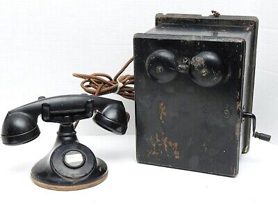 Antique 315H Bell System Western Electric F-1 No-Dial Telephone Oak Ringer Box
