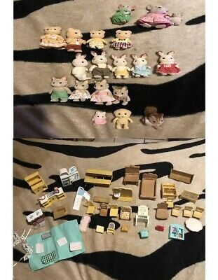 Calico Critters Mix Lot Epoch, Sylvanian families, 20 figures & furniture
