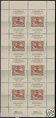 Canada Stamps — Full Pane of 8 with Cover — 150 Years of Canada Post #1900 — MNH