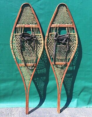 OLD INDIAN SNOWSHOES 42x12 ANTIQUE SNOW SHOES NICE PATINA
