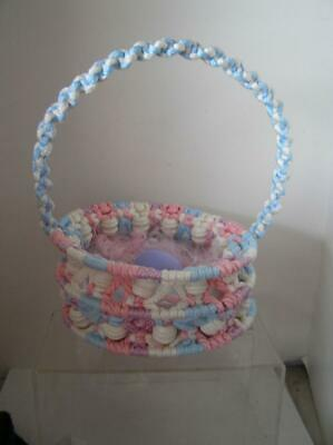 Handmade Crochet Easter Basket Victorian Style Blue & Pink Purple wood EGG