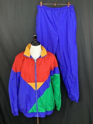 Vintage 90s Blue Red Yellow Nylon Track Suit Jacket Windbreaker Womens Large L