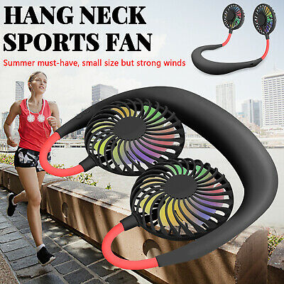 Portable Rechargeable Neckband Dual Cooling Mini Fan Lazy Hanging Neck Outdoor