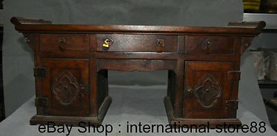 "21"" Old Chinese Huanghuali Wood Hand Carving Furniture Storage Wardrobe Drawer"