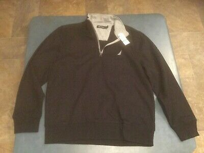 Nautica Men's L Black & Gray Pullover Long Sleeve 1/2 Zip Sweatshirt NWT