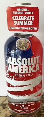 EMPTY ABSOLUTE AMERICA 750ml Vodka Bottle Limited Edition USA Red White Blue