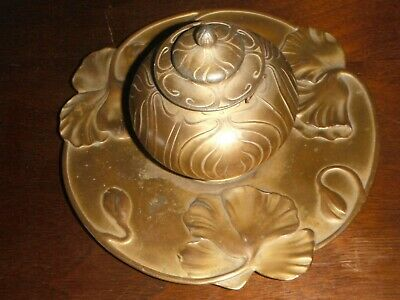 Antique French Art Nouveau Inkwell Beautiful Ginkgo Leaf Design Gilded Metal
