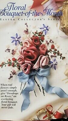Floral Bouquet-of-the-Month - Flower Ribbon Embroidery Kit -  Dewdrops on Roses