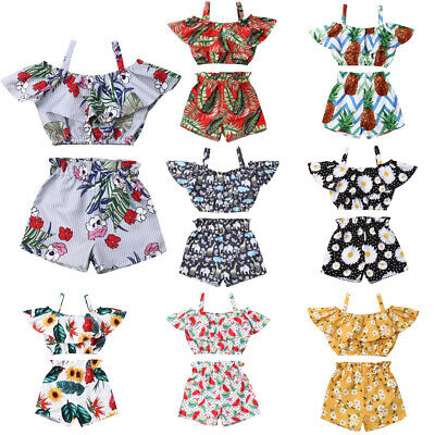 Fashion Kids Toddler Baby Girls Crop Tops Floral Short Pants Outfits Clothes UK