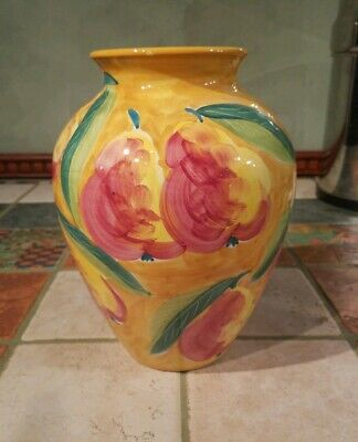 """POTTERY BARN Hand Painted Large Ceramic Vase Floral Planter Italy 10""""H X 7""""W"""