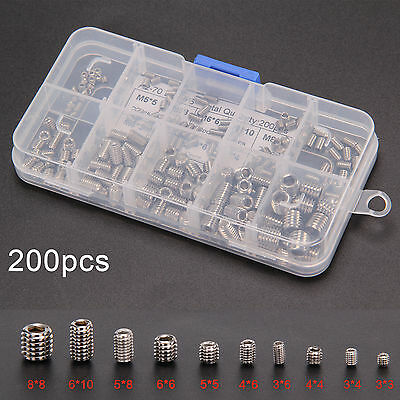 200pcs Stainless Allen Steel Head Socket Hex Set Grub Screw Assortment Cup Point