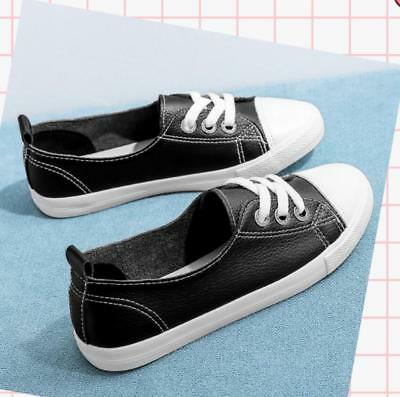 Casual Pumps Canvas Sneakers Womens Shoes Girls Flat Lace Up Loafers Plimsolls