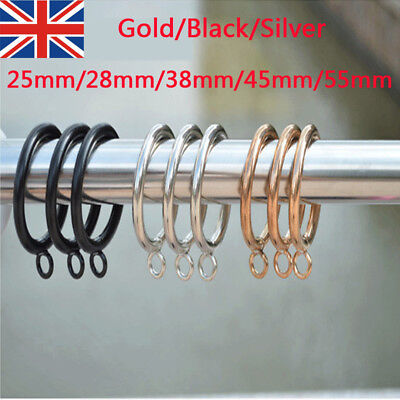 10x METAL CURTAIN RINGS HOOKS POLE ROD VOILE NET CURTAINS HANGING 25-55mm 2019