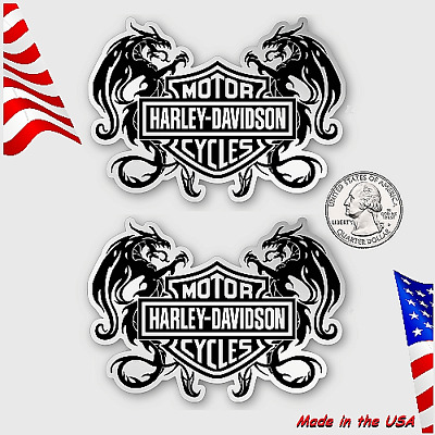 Two (2) sparkling Chrome & Black Heraldic Harley Davidson Stickers Dragons