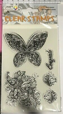 Clear Stamps ~ Butterfly Congrats Flourish Flowers