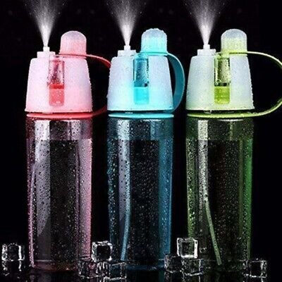 400/600ml Spray Water Bottle With Straw Drink Spray Cup Climbing Hiking AU