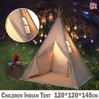 Portable Canvas Kids Indian Tent Teepee Play Sleeping Indoor Outdoor House Gift