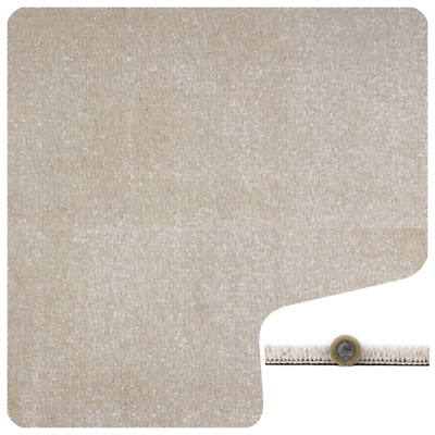 SUPERSOFT 13mm Thick Cream Saxony Action Back 5m Wide Carpet Remnant/Roll End