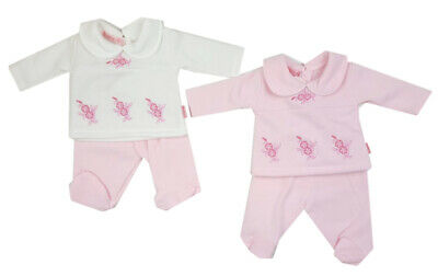 Premature preemie tiny baby girls clothes fleece lined top and trousers 3-8 lbs