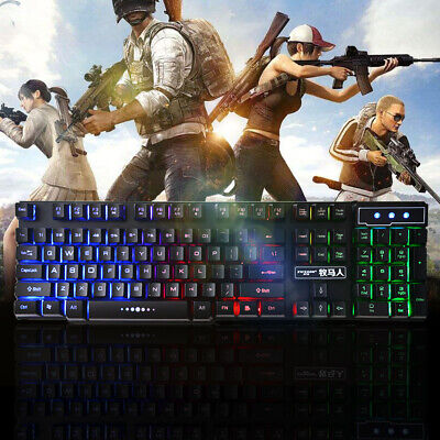 USB Wired Gaming Keyboard Rainbow LED Light Mechanical For PC Laptop PS4 PRO