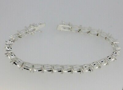 Sterling Silver 7 inch Tennis Bracelet Semi Mount Setting Oval OV 6x5mm 25 Piece