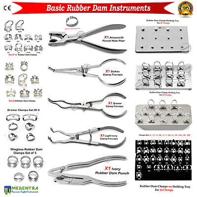 MEDENTRA® Dental Rubber Dam Clamps Punch Pliers Surgical Restorative Instruments
