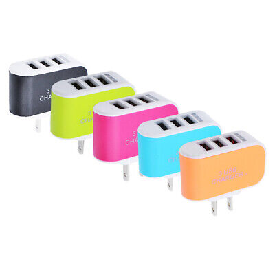 EU/US Plug Wall 3 Ports USB Charge LED Charger AC Power For iPhone Huawei Xiaomi