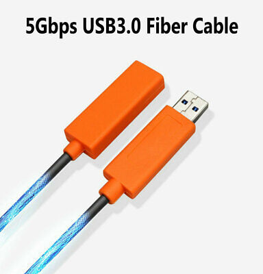65ft 20M USB-A Type A 3.0 Male To Female Extension Fiber Optic Cable Active 5Gbp