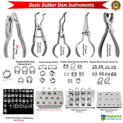 Medentra® Dentist Rubber Dam Instruments Punch Forceps Pliers Universal Clamps