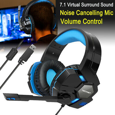 7.1 Surround Sound Wired Gaming Headset Stereo w/MIC LED for PC Laptop PS4 Xbox