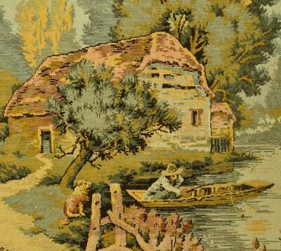 Charming Vintage French Tapestry Wall Hanging, Serene Riverside Scene - B1041
