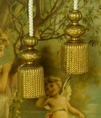 Impressive Pair Huge Antique French Gilded Tassel, Chateau Light / Curtain Pulls