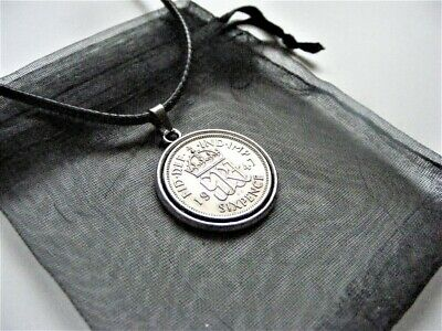 """1947 Lucky Sixpence Charm Necklace 18"""" Cord - 2"""" Ext Chain - Nice Birthday Gift"""
